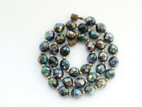 "Vintage 16"" Sparkly Aurora Borealis Faceted Glass Necklace"