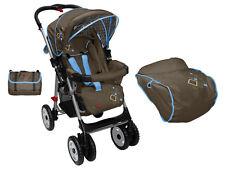 NEW Aussie Baby deluxe Reverse Handle Pram  stroller Diamond Blue