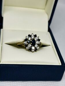 9ct Gold Sapphire & CZ Ring, Size M,