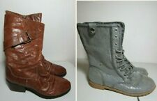 2 Pr Womens Sz 6 Boots LOT Justice Silver Sequin Combat Brown Leather Tall Shoes