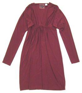 EVERLAST x Norma Kamali Dress - Dark Red Wine - Empire Waist Batwing Dolman sz S