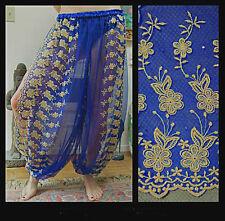 Harem Pants Belly Dance Blue w/ Gold Brocade Slit 5