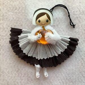 Paper doll Vintage thanksgiving ornaments, pilgrim lady girl gift tag item# 21