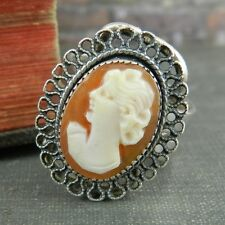 Italy Two-Tone Sterling Silver Cameo Ring