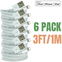 6-Pack 3Ft USB Charger Cable Lot For iPhone 11 XR 8 7 6s Plus Charging Data Cord
