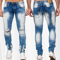 Herren Jeans Destroyed Denim Hose Skinny Fit Bleached Ripped Used Tapered