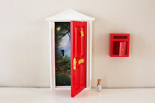 Opening red elf fairy door wooden miniature tooth fairy post mail box