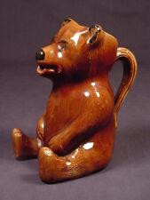 RARE TEDDY BEAR PITCHER ROCKINGHAM GLAZE YELLOW WARE MINT