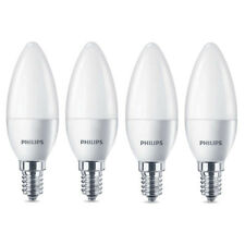 4 x Philips LED Frosted E14 Warm White Edison Screw 40w Candle Light Bulb 470lm