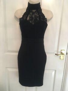 Jane Norman Black Bodycon / Lace high neck dress 8