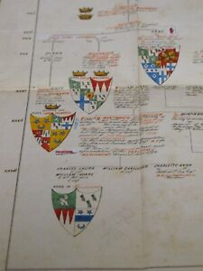 MANUSCRIPT c1864 Earls of Marchmont SIR PATRICK HUME Hand Illuminated Coat Arms
