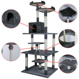 "77.5"" Cat Tree Condo Furniture Scratch Post Pet Play House Home Gym Tower Beige"