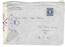 Australia Censored Cover WWII to US Sc 195 not canceled Censor 1380