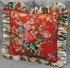 Pillow made w Ralph Lauren Belle Harbor Red Floral Fabric w White Floral Ruffle