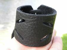 Men bracelet Black Genuine Buffalo Leather wristband Handmade Adjustable