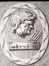 PAN,XVII SECOLO,FLAUTO,SIRINGA,MUSICA,DIO FORESTA,NINFE,INCISIONE,STAMPA ANTICA