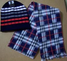 New Lot 2 Pc EROS Knit Beanie Cuff WOMEN LADY Mens HAT Skull Ski CAP Plaid Scarf
