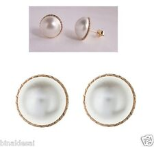 9ct Gold Large 12mm Round D/C Pearl Button Studs Earrings B'Day Anniversary GIFT