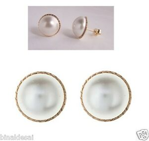 9ct Gold Large 12mm Round D/C Pearl Button Studs Earrings Mothers Day GIFT BOX N
