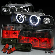 92-98 BMW E36 2Dr 3-Series Black Halo Pro Headlight+Smoke Tail Lamp+Fog Lights