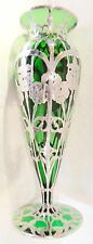 Antique Alvin ,Gotham very tall sterling overlay glass vase