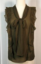Ann Taylor LOFT Petites Blouse Top Brown Size XSP Ruffles Bow Tie Sheer