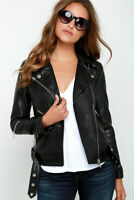 Ladies Black Leather Jacket Biker Style Tops ZIpped Real LEATHER Jacket 9393