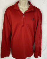 Adidas Mens Activewear Red Top Size XL 1/2 Zip Long Sleeve Zip Pocket Pullover
