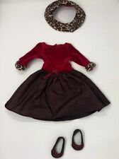 American Girl Doll DRESS Red & Brown Dress Animal Print Sleeve Holiday OUTFIT