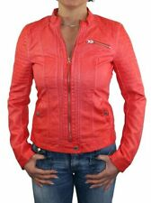 BLOUSON VESTE BIKER ONLY FEMME NEUF ROUGE CUIR SYNTHÉTIQUE TAILLE 40