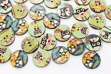 Cartoon Owl Wood Button Children Baby Animal Birds Wooden Mix Lots 20mm 20pcs