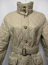 AUTHENTIC BURBERRY LONDON DIAMOND QUILTED TAUPE CHECK JACKET W/ BELT       st1u