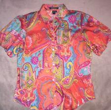 Ralph Lauren Puff Sleeve Multi Color Cotton Paisley Button Front Casual Top M