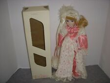 """Friendly Home Parties, Victorian 16"""" Porcelain Doll, Pink Floral Dress, W/Box!"""