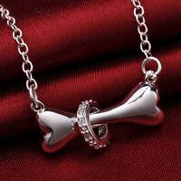 Silver 925 Necklace Jewelry dog bone Fashion crystal Cute Pretty charm WOMEN