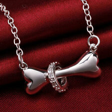 Silver Necklace Jewelry dog bone Fashion crystal Cute Pretty charm 18inch WOMEN
