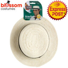 AC60 Mens Ladies Straw Boater Hat School Girl Explorer Summer Sun Beach Costume