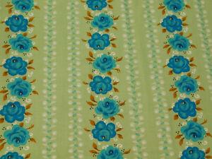 "2 Yard x 38"" wide Vintage COTTON FABRIC Green Turquoise Floral Stripe LOWENSTEIN"