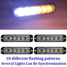4pcs White/Amber 6 LED Emergency Warning Hazard Caution Flash SYNC Strobe Lights
