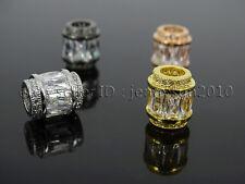 Rectangle Zircon Gemstones Big Hole Rondelle Bracelet Connector Charm Beads