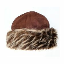 Ladies Brown Luxury Faux Fur Trapper Cap with Micro Suede