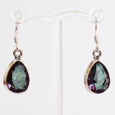 925 Sterling Silver Semi-Precious Mystic Topaz Natural Stone Earrings