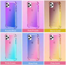 Gradient Dual Colour Case for iPhone Samsung Huawei Soft TPU with Air Cushions