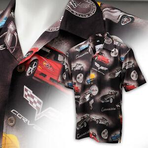 Mens 60 Years of Corvette Brown Camp Shirt 637506