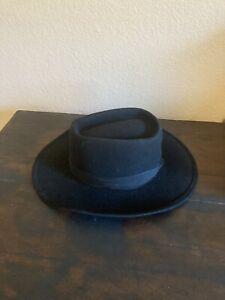 Meyer The Hatter Vintage Wool Felt Hat Black Size Small Bee Hat Crocodile Dundee