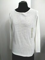 NWT Jeanne Pierre Women's Top Knitted Garment White Tunic Long Sleeve Size Large