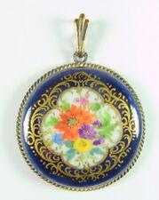 Meissen - Edler Schmuck Anhänger aus Meissner Porzellan - Kobaltblau, Blumen