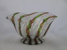 Vintage Salviati Latticino Finger Bowl Glass Gold Aventurine Zanfirico Murano