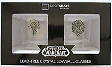 World of Warcraft Horde/Alliance Lowball Glass Set Loot Crate DX Blizzcon