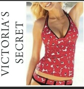 Victoria's Secret Red Floral Poppy Tankini 2 Piece Swimsuit Small PushUp Halter